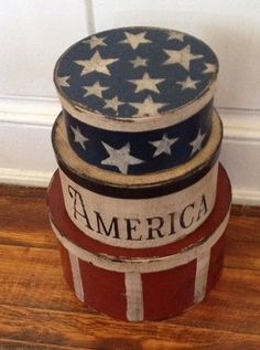 USA Set of Paper Mache Boxes by hanwaymillhouse on Etsy