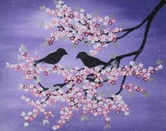 large japanese style painting of a cherry blossom tree by SheerJoy
