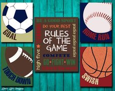 Sports Decor   Sports Nursery   Boy Room Decor   Rules Of The Game Sign    Football, Baseball, Basketball, Soccer Signs   Kids Sports Decor