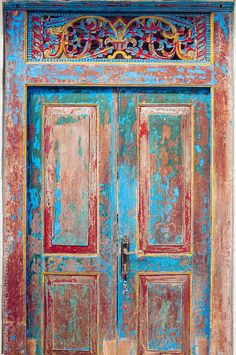 The Antique Painted Front Door / India / Alexander Grabchilev for Stocksy United - July 13 2019 at Old Wooden Doors, Custom Wood Doors, Cool Doors, Unique Doors, Antique Interior, Interior Barn Doors, Indian Doors, Painted Front Doors, Door Furniture