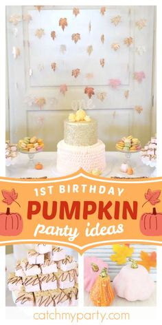 Don't miss this cute pumpkin birthday party! The cake is wonderful! See mor… Don't miss this cute pumpkin Halloween First Birthday, Boys 1st Birthday Party Ideas, Birthday Cake Girls, First Birthday Cakes, Girl First Birthday, First Birthday Parties, Baby Birthday, Pumpkin Birthday Cakes, Pumpkin Birthday Parties