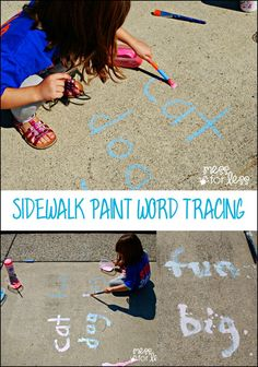 Sidewalk Paint Word Tracing Game with Wet Ones - Kids read, trace and paint with this fun game! Recipe for sidewalk paint included ad Phonics Activities, Kids Learning Activities, Fun Learning, Outdoor Activities, Letter Activities, Learning Tools, Sidewalk Paint, Kids Reading, Reading 2016