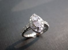 Engagement Ring with Marquise Diamond in 14K White Gold.