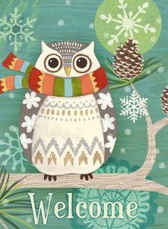 Woodland Owl, turquoise, tall -- by Jennifer Brinley