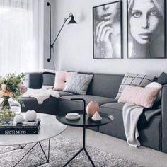 scandi syle living room idea with gray sofa living room Living Room Stands, Living Room Grey, Small Living Rooms, Living Room Sofa, Living Room Interior, Apartment Living, Cozy Apartment, Apartment Design, Simple Living Room Decor