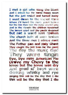 american pie lyrics don mclean | Details about Don McLean - American Pie - song lyric poster typography ...