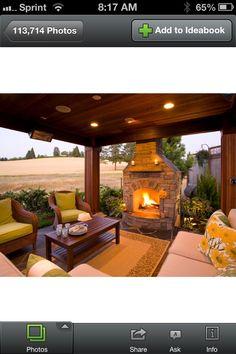 Deck. Backyard ideas. Outdoor fireplace. Back porch.