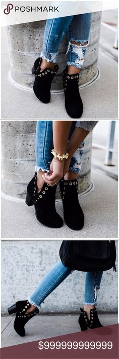 MORE SIZES ADDED!! Grommet Cut Out Side Bootie Black Grommet Cut Out Side Bootie. Runs True To Size. BOX NOT INCLUDED. Shoes Ankle Boots & Booties