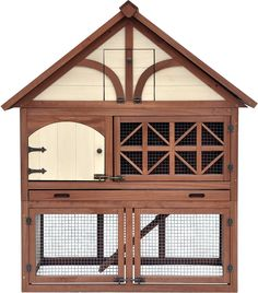 Provide your bunny with a safe and comfy home of his own with the Merry Products Tudor Decorative Rabbit Hutch. Beautifully designed in the 16th century Tudor style with its pitched roof, embellished doorway, decorative half-timbering and exposed woodwork, this hutch houses up to four dapper bunnies. It's not only cute, but it also provides protection from the weather and even predators, so your bunnies can be stress-free and thriving, whether indoors or outdoors. It's both a comfy coop and…