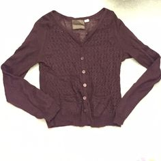 Burgundy Anthropologie Crochet Cardigan Burgundy Anthropologie (Guinevere) crochet front cardigan with two small front pockets. The cardigan is thin, light weight, and relatively sheer (as seen in photo 3 of the back of the cardigan). The sleeves and back are not crocheted. Buttons up in the front! BARELY WORN (worn maybe 3 times).  Fits a medium/large Anthropologie Sweaters Cardigans