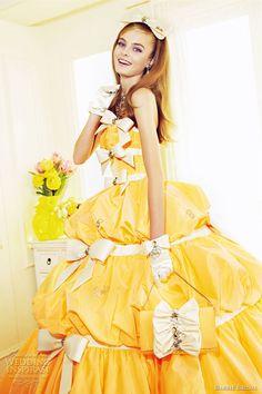 http://weddinginspirasi.com/2012/02/12/barbie-bridal-wedding-dresses-2012/  barbie wedding 2012  #weddingdress #yellow #weddings #barbie #ballgown #colorweddingdress #princess #yellowdress