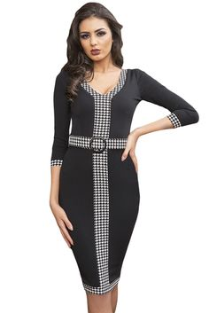 4c36c25cae06 Black Houndstooth Detail Bodycon Midi Dress only US$22.77 ,free shipping to  worldwide! Cheap