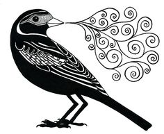 """Blackbird.""  Ink drawing by Geninne D Zlatkis of Queretaro, Mexico."