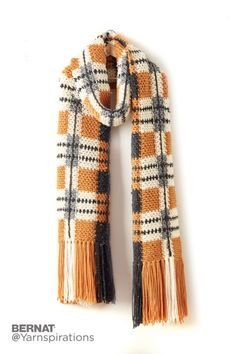 Big Tartan Crochet Super Scarf - Patterns | Yarnspirations
