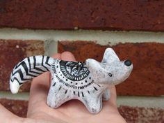 Ready to Ship - OOAK - White and Grey speckled Clay Wolf totem