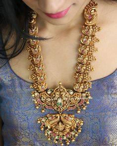 Temple Design Statement Necklace By Ms Pink Panther!! Jewelry Design Earrings, Necklace Designs, Jewellery Designs, Indian Bridal Jewelry Sets, Bridal Jewellery, Indian Jewelry, Gold Temple Jewellery, Peacock Necklace, South India