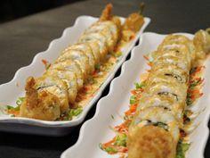 Senor sushi: Guamuchilto roll (left): Shrimp Tempura, Avocado, Cucumber, Crab Meat, Cream Cheese/Fresh Shrimp (breaded and deep fried). Carne Asada roll (right): Steak, Crab Meat, Tomato, Jalapeno, Onion, Cilantro (deep fried).