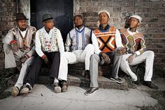 Maxhosa by Laduma is a Cape Town based South African knitwear designer. He is best know for his Xhosa inspired mens wear. Xhosa Attire, African Attire, Kitenge, African Men Fashion, Mens Fashion, Fashion Menswear, Afro, African Traditions, Style Ethnique