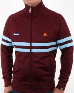 Ellesse Rimini Track Top in Claret and Sky Blue. More Ellesse Track Tops in different styles and colours available at Casual Classics. Vintage Tracksuit, Mens Tracksuit, Mens Outdoor Jackets, Track Suit Men, Blue Polo Shirts, Ellesse, Nike Outfits, Mens Sweatshirts, Adidas Jacket