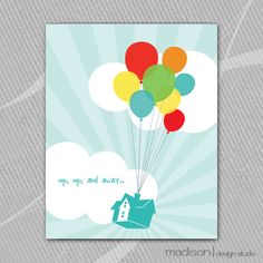 Disney Up Inspired -Up, Up, and Away Modern Digital Art Print - Primary Colors - 8x10