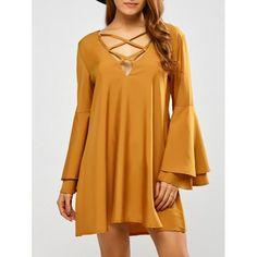 Reversible Flare Sleeve Lace Up Mini Dress