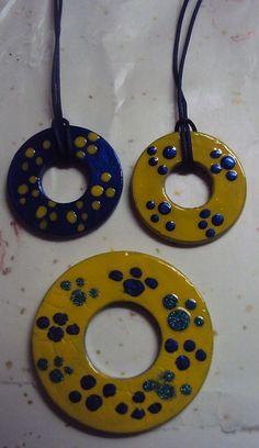 Washer necklace. I painted them with fingernail polish.
