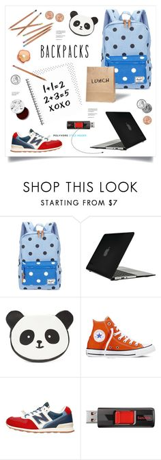 """""""Rule School: Cool Backpack"""" by grrr8style ❤ liked on Polyvore featuring Herschel Supply Co., Speck, Forever 21, Converse, New Balance, Sandisk, too cool for school, backpacks, contestentry and PVStyleInsiderContest"""