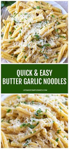 You're going to fall in love with this dish! These quick & easy butter garlic noodles are crazy flavorful and come together in under 30 minutes. #quickandeasybuttergarlicnoodles #buttergarlicnoodles #butternoodles #garlicnoodles #easypastarecipe