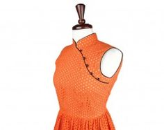 Sleeveles orange modern qipao! Love the cotton eyelet fabric!