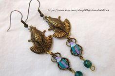 Pharaoh Handpainted Scarab Green Czech Bead by Objectsandoddities