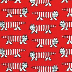 ユンバリ社生地(布)LISA & JOHANNA LARSON(リサ&ヨハンナ・ラーソンデザイン)MIKEY(マイキー・ネコ柄)商品画像>>人相(猫相?)悪くてなんてカワイイ…ブサ猫