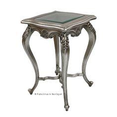 Lila Shabby Chic Side Table - Antiqued Silver Leaf www.fabulousandbaroque.com