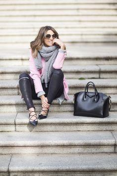 Quartz pink blazer, leather leggins, grey knit sweater and scarf, pink sunglasses
