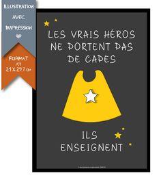 Affiche Imprimée - Cadeau de fin d'année - maîtresse maître d'école : Décorations murales par affiche-rgb4you #cadeau #maitresse #ecole #findannee