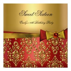 "Sweet Sixteen 16 Red Black Gold Damask Bow 5.25"" Square Invitation Card"