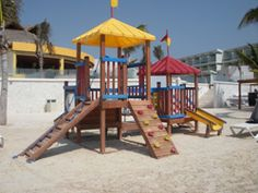 Oceanfront Azul Sensatori on the Riviera Maya has so many bells and whistles for kids, including this beach playground, expansive kids' club, complimentary baby gear and jarred baby food, and much more.