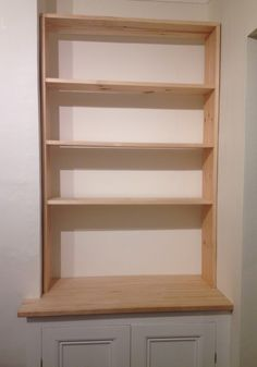 Basic wooden frame for upper section of DIY alcove cupboard