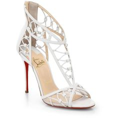 Christian Louboutin Martha T-Strap Leather Sandals (23 430 ZAR) ❤ liked on Polyvore featuring shoes, sandals, heels, christian louboutin, sapatos, white, leather sandals, white heeled sandals, white t strap sandals and sexy stilettos