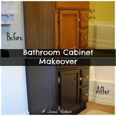 Cabinet Makeover | Cabinet Makeover: staining a bathroom vanity cabinet #diy bathroom