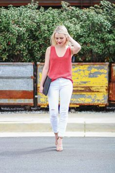 How To Style A Madewell Sweater Tank - Poor Little It Girl. Red sweater tank+white distressed jeans+camel ankle strap heeled sandals+black clutch+camel tassel earrings. Summer Casual Outfit 2017
