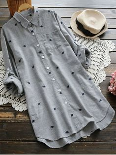 Leaf Embroidered Striped Pocket Tunic Shirt - GRAY ONE SIZE