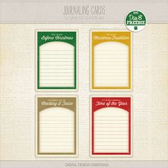 Journaling Cards freebie from Digital Design Essentials #ProjectLife #Christmas