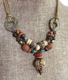 THE COLORS Organic Mahogany Pod Tribal Beads and Carnelian - Natural Turquoise Stones - Primitive Natural Fibers Necklace by HollyoftheEarth on Etsy Tribal Jewelry, Bohemian Jewelry, Leather Jewelry, Wire Jewelry, Jewelry Art, Beaded Jewelry, Jewelery, Jewelry Necklaces, Beaded Necklace