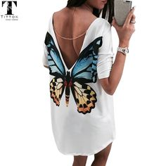 Now at our store Butterfly Casual V neck mini women t shirt dress chiffon  dress casual 5d5f6ff1321
