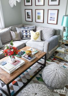Pop of color in living room with gray.  Inspired by Charm Summer Home Tour 2016 | inspiredbycharm.com