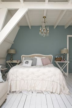 Bedroom in Oval room blue Farrow&Ball (interior styling Petra Postmus, photography Denise Keus) www. Romantic Bedroom Colors, Bedroom Wall Colors, Bedroom Red, Bedroom Loft, Home Decor Bedroom, Romantic Bedrooms, Bedroom Ideas, Master Bedroom, Diy Bedroom