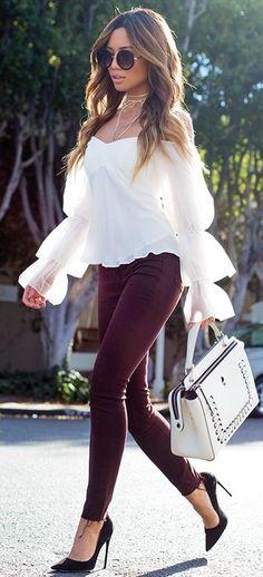 #fall #fashionistas #outfits | White + Burgundy