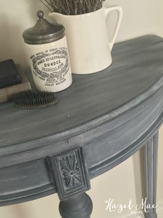 Furniture Upcycled Annie Sloan Paris Grey wash over Graphite on accent table by Hazel Mae Home How A Painted Bedroom Furniture, Grey Furniture, Chalk Paint Furniture, Refurbished Furniture, Repurposed Furniture, Furniture Projects, Furniture Makeover, Annie Sloan Furniture, Furniture Design