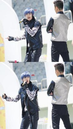 its B.A.P! Hahaa in this photo it loos like baby Zelo did something wrong...And papa Bang Yong Guk is looking at him