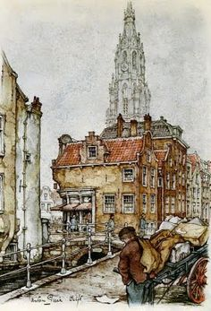 Anton Pieck Delft is a city and municipality in the province of South Holland, in the Netherlands Delft, Theo Van Doesburg, Anton Pieck, South Holland, Visit Holland, Dutch Painters, Urban Sketchers, Dutch Artists, Gravure
